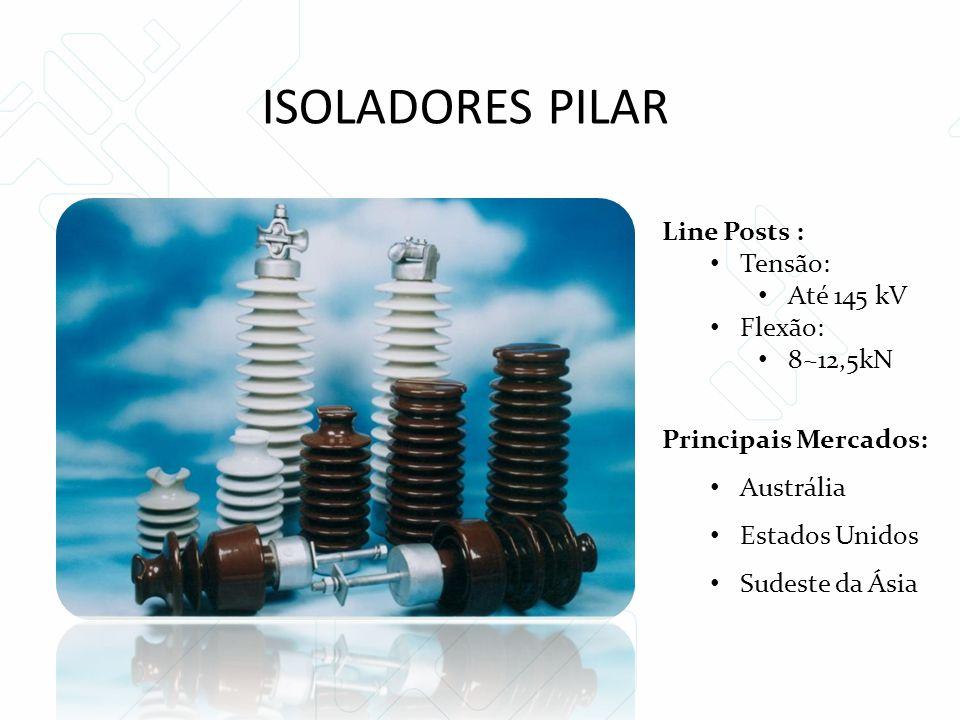 Line Posts : Tensão: Até 145 kV Flexão: 8~12,5kN Principais Mercados: Austrália Estados Unidos Sudeste da Ásia ISOLADORES PILAR