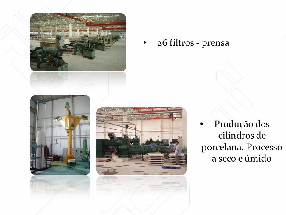 26 filtros - prensa Produção dos cilindros de porcelana. Processo a seco e úmido
