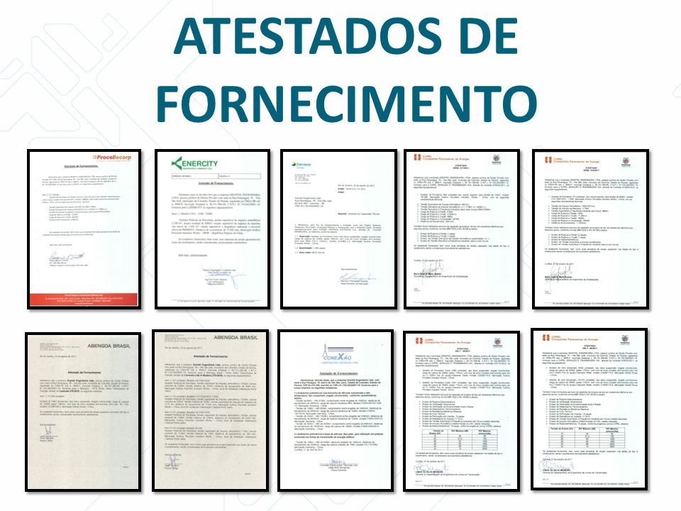 ATESTADOS DE FORNECIMENTO
