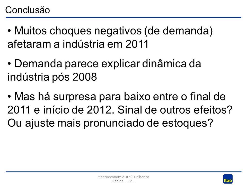 Conclusão Macroeconomia Itaú Unibanco Página - 12 - Muitos choques negativos (de demanda) afetaram a indústria em 2011 Demanda parece explicar dinâmica da indústria pós 2008 Mas há surpresa para baixo entre o final de 2011 e início de 2012.