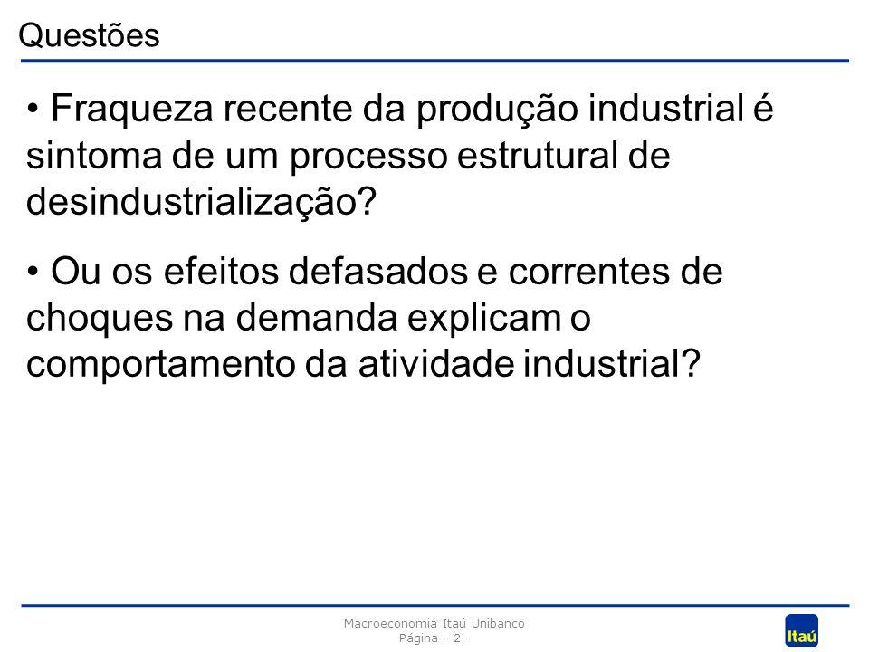 Questões Macroeconomia Itaú Unibanco Página - 2 - Fraqueza recente da produção industrial é sintoma de um processo estrutural de desindustrialização.