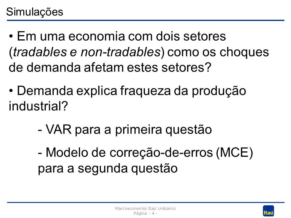 Simulações Macroeconomia Itaú Unibanco Página - 4 - Em uma economia com dois setores (tradables e non-tradables) como os choques de demanda afetam estes setores.