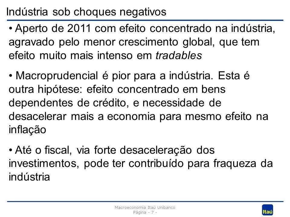 Indústria sob choques negativos Macroeconomia Itaú Unibanco Página - 7 - Aperto de 2011 com efeito concentrado na indústria, agravado pelo menor crescimento global, que tem efeito muito mais intenso em tradables Macroprudencial é pior para a indústria.