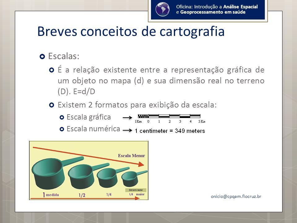 Breves conceitos de cartografia Escalas: É a relação existente entre a representação gráfica de um objeto no mapa (d) e sua dimensão real no terreno (D).