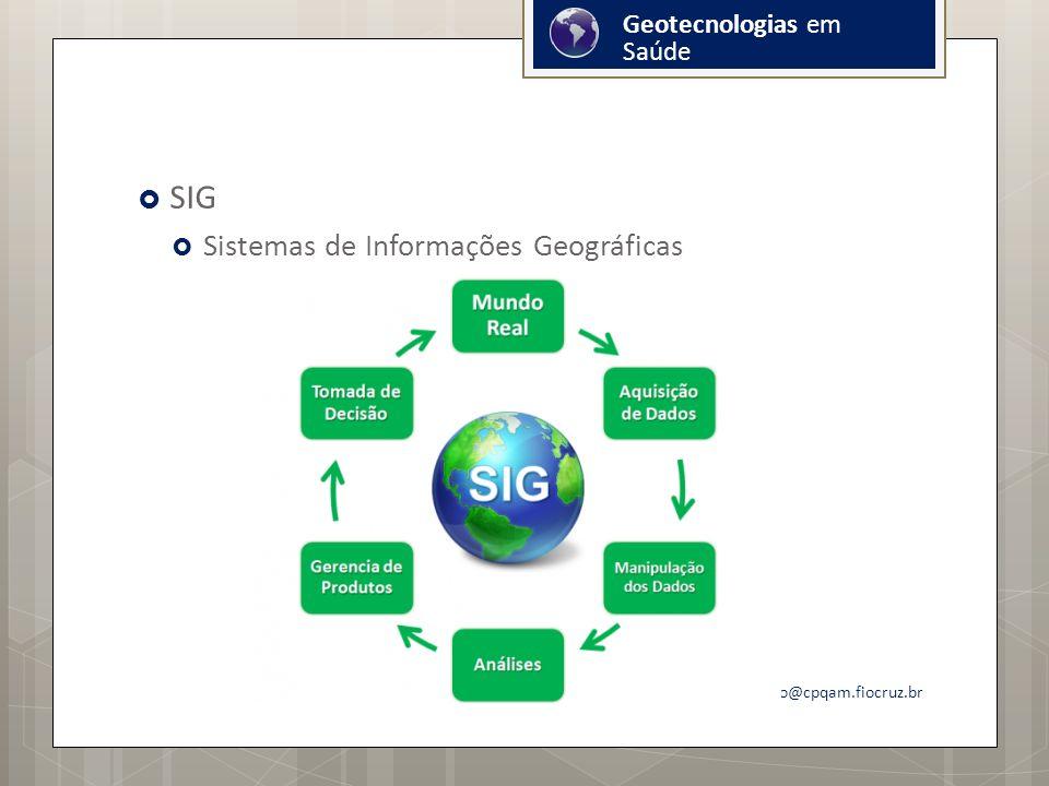 SIG Sistemas de Informações Geográficas onicio@cpqam.fiocruz.br Geotecnologias em Saúde