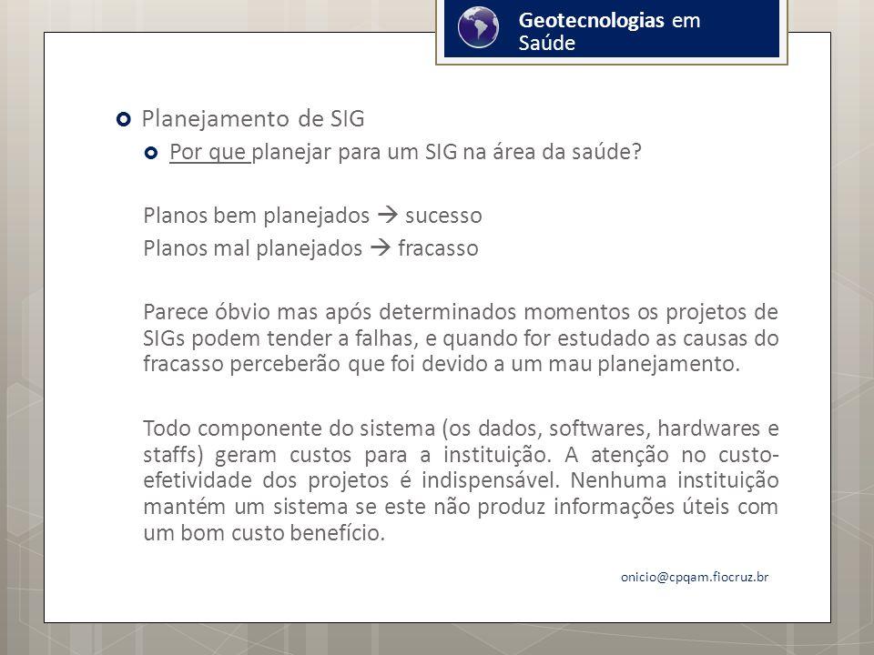 Planejamento de SIG Por que planejar para um SIG na área da saúde.