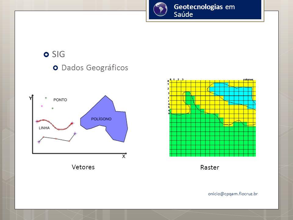 SIG Dados Geográficos onicio@cpqam.fiocruz.br Raster Vetores Geotecnologias em Saúde
