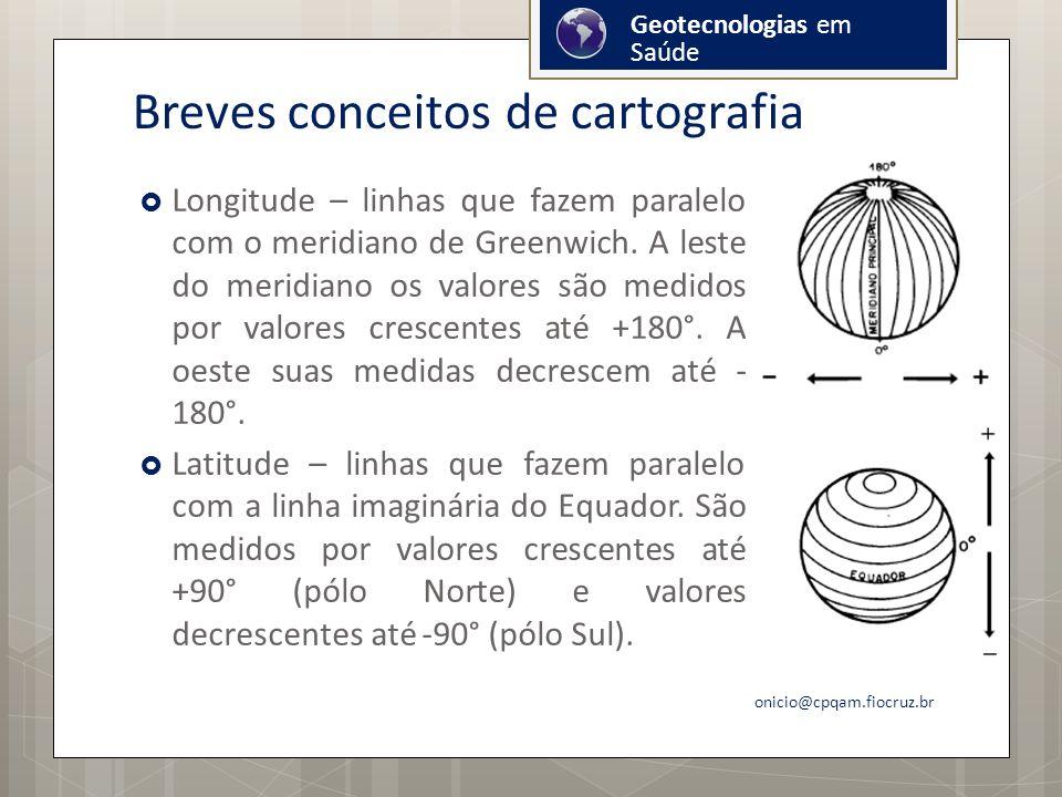 Breves conceitos de cartografia Longitude – linhas que fazem paralelo com o meridiano de Greenwich.