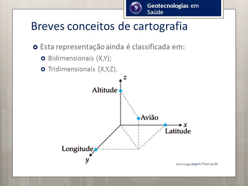 Breves conceitos de cartografia Esta representação ainda é classificada em: Bidimensionais (X,Y); Tridimensionais (X,Y,Z).