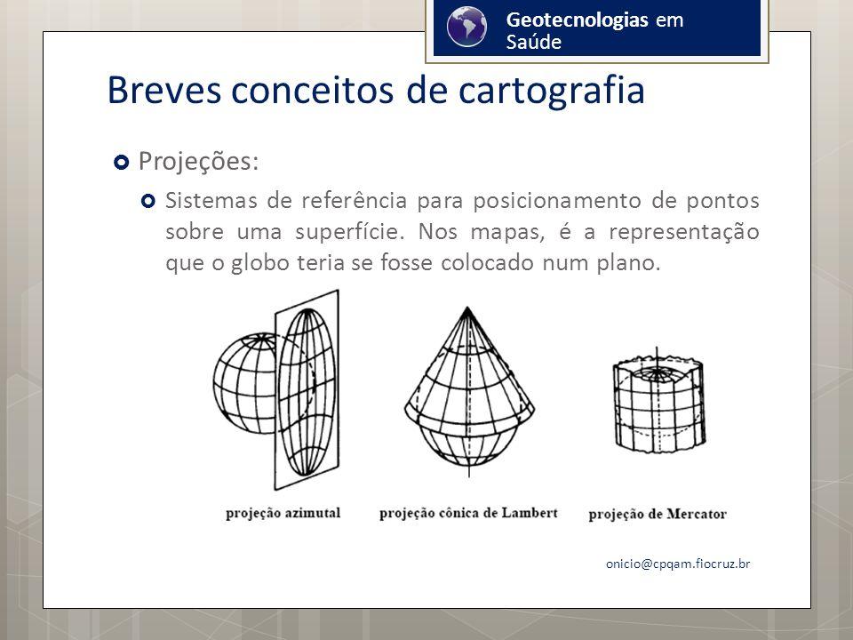 Breves conceitos de cartografia Projeções: Sistemas de referência para posicionamento de pontos sobre uma superfície.