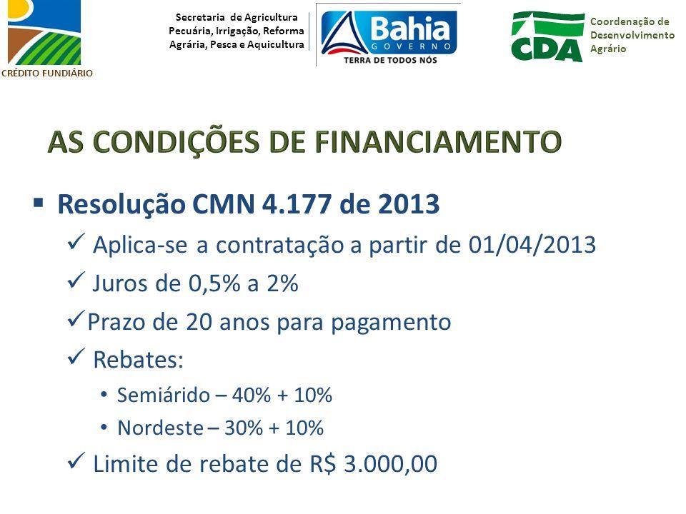 Coordenação de Desenvolvimento Agrário Secretaria de Agricultura Pecuária, Irrigação, Reforma Agrária, Pesca e Aquicultura CRÉDITO FUNDIÁRIO Resolução CMN 4.177 de 2013 Aplica-se a contratação a partir de 01/04/2013 Juros de 0,5% a 2% Prazo de 20 anos para pagamento Rebates: Semiárido – 40% + 10% Nordeste – 30% + 10% Limite de rebate de R$ 3.000,00