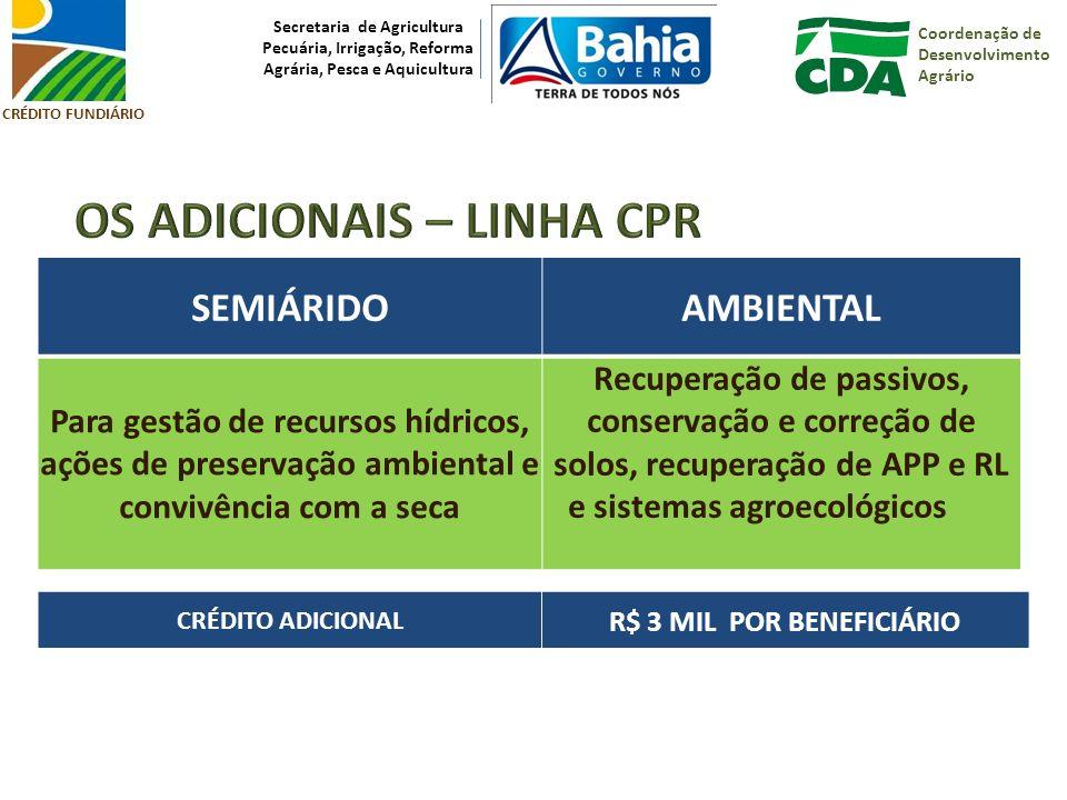 CRÉDITO FUNDIÁRIO Coordenação de Desenvolvimento Agrário Secretaria de Agricultura Pecuária, Irrigação, Reforma Agrária, Pesca e Aquicultura Rildo Borges Rocha Coordenador de Reforma Agrária / UTE/CDA-BA Contatos Fone: 71 3116.7207 / Fax: 71 3235.6907 E-mail: reforma.agraria@cda.ba.gov.brreforma.agraria@cda.ba.gov.br rildo.rocha@cda.ba.gov.br@cda.ba.gov.br