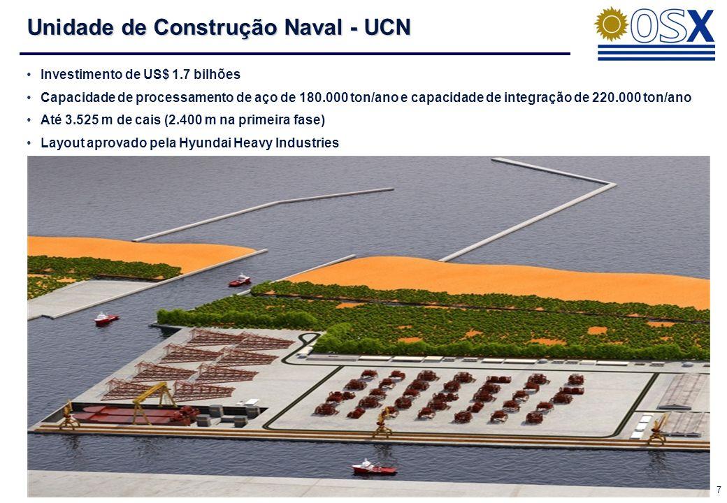 7 Unidade de Construção Naval - UCN Investimento de US$ 1.7 bilhões Capacidade de processamento de aço de 180.000 ton/ano e capacidade de integração de 220.000 ton/ano Até 3.525 m de cais (2.400 m na primeira fase) Layout aprovado pela Hyundai Heavy Industries