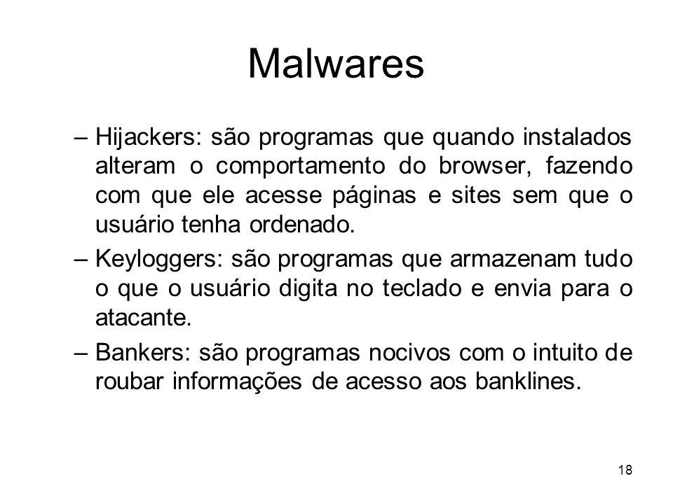 Malwares –Hijackers: são programas que quando instalados alteram o comportamento do browser, fazendo com que ele acesse páginas e sites sem que o usuário tenha ordenado.