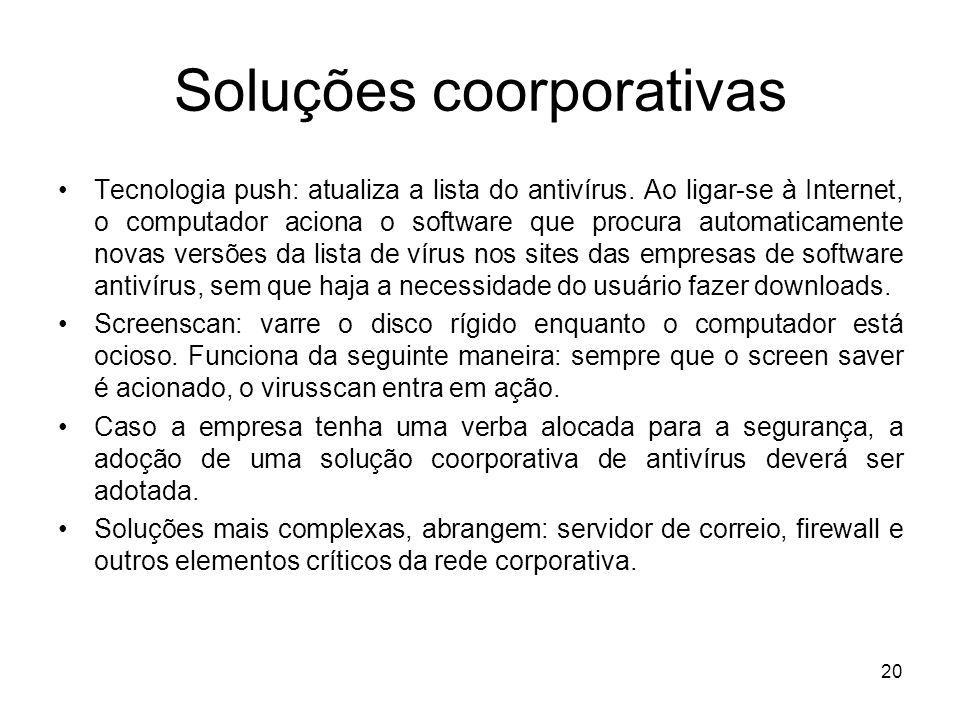 Soluções coorporativas Tecnologia push: atualiza a lista do antivírus.