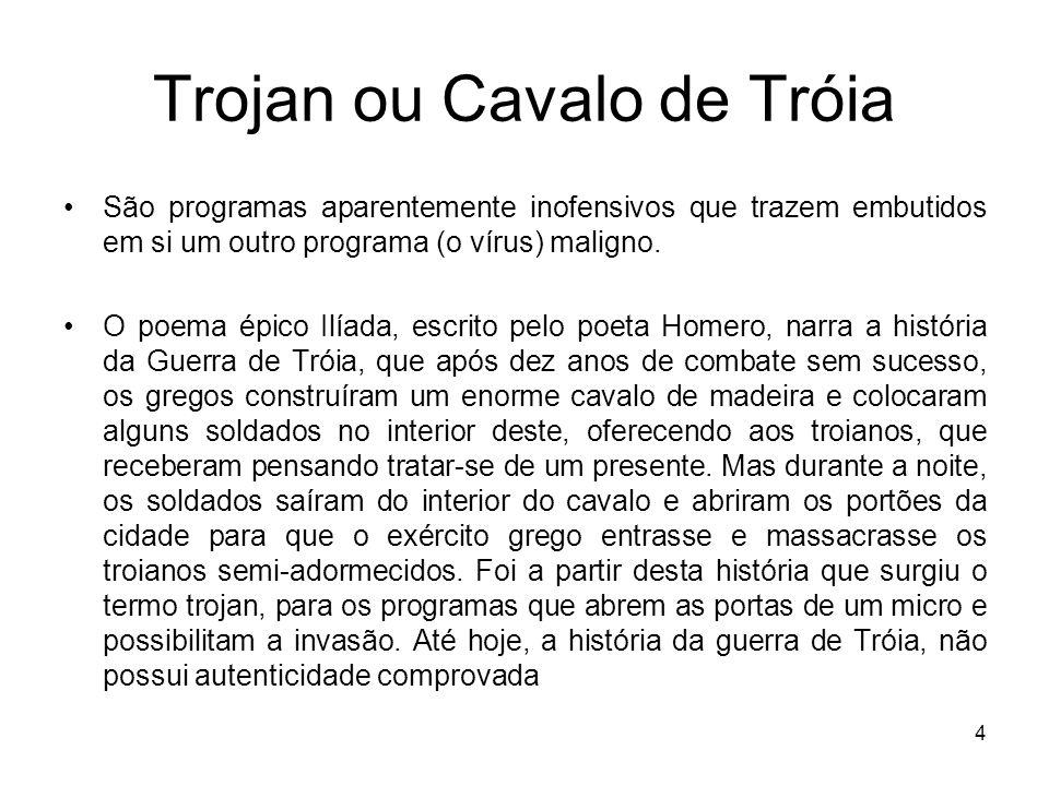Trojan ou Cavalo de Tróia Os trojans são bem diferentes dos vírus, embora possuam algumas semelhanças, como, por exemplo, perda de arquivos.