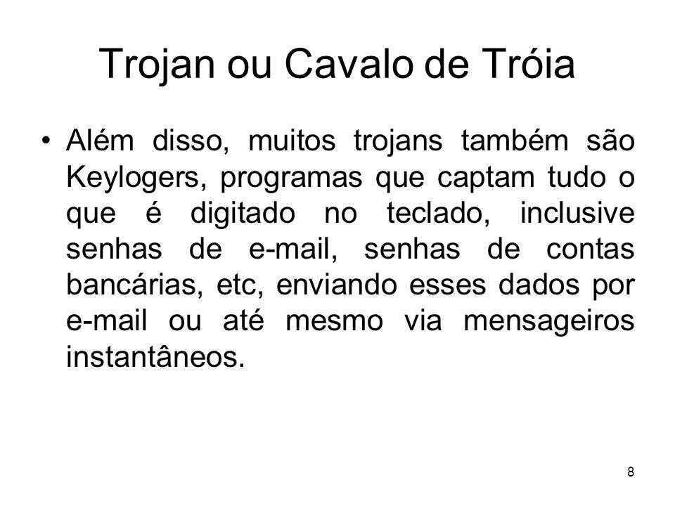 Trojan ou Cavalo de Tróia Além disso, muitos trojans também são Keylogers, programas que captam tudo o que é digitado no teclado, inclusive senhas de e-mail, senhas de contas bancárias, etc, enviando esses dados por e-mail ou até mesmo via mensageiros instantâneos.
