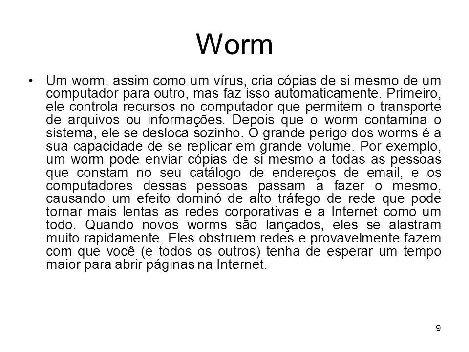 Worm Worm (s.m.) Uma subclasse de vírus.