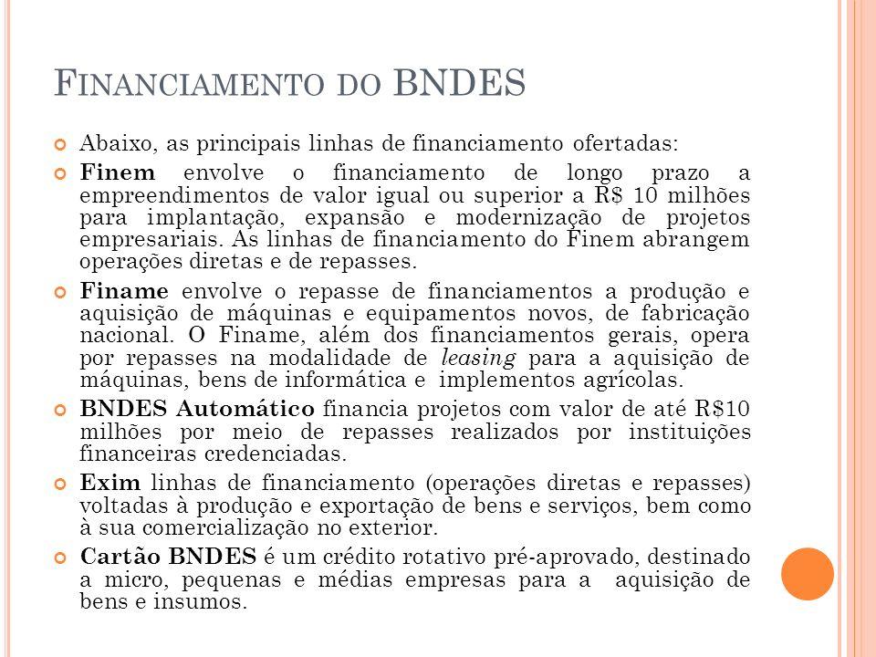 F INANCIAMENTO DO BNDES Abaixo, as principais linhas de financiamento ofertadas: Finem envolve o financiamento de longo prazo a empreendimentos de val