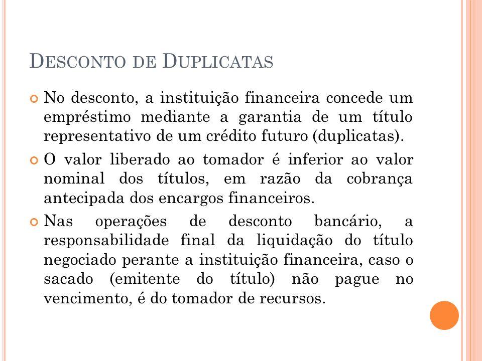D ESCONTO DE D UPLICATAS No desconto, a instituição financeira concede um empréstimo mediante a garantia de um título representativo de um crédito fut