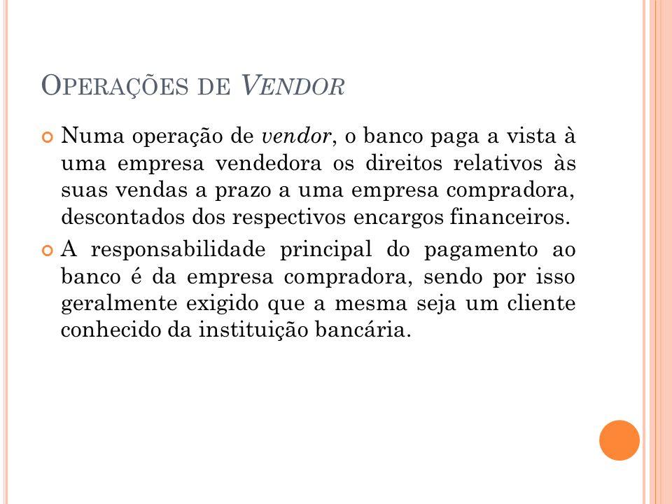 O PERAÇÕES DE V ENDOR Numa operação de vendor, o banco paga a vista à uma empresa vendedora os direitos relativos às suas vendas a prazo a uma empresa