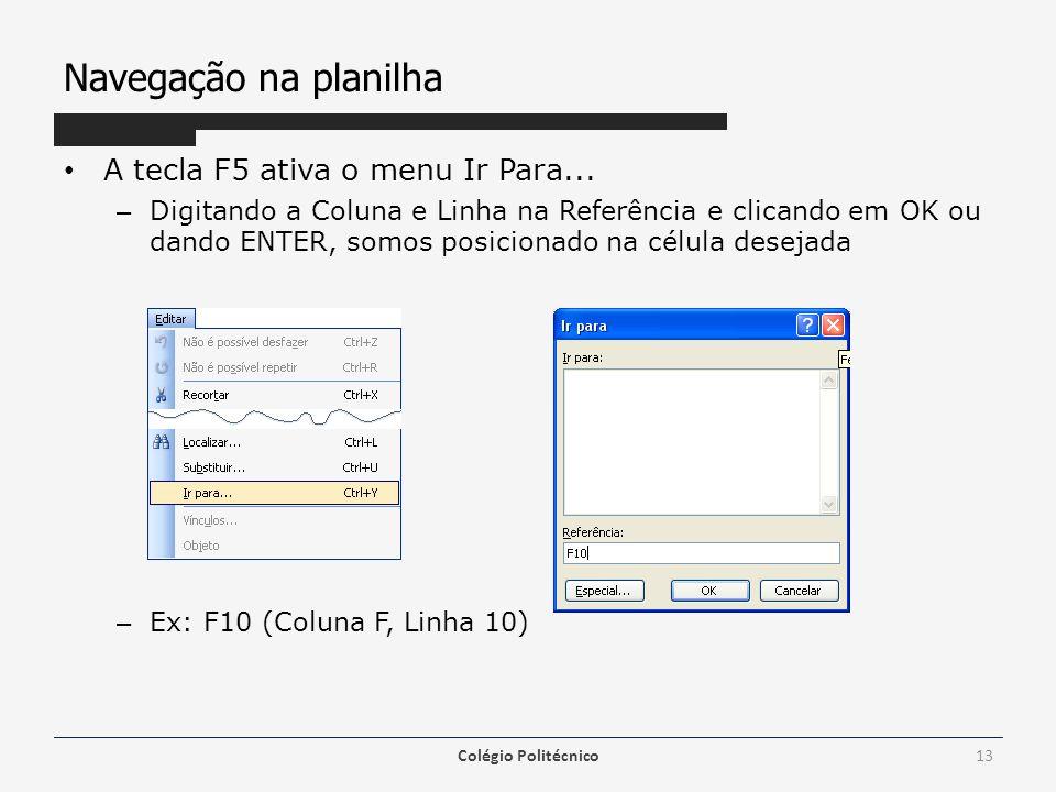 Navegação na planilha A tecla F5 ativa o menu Ir Para... – Digitando a Coluna e Linha na Referência e clicando em OK ou dando ENTER, somos posicionado