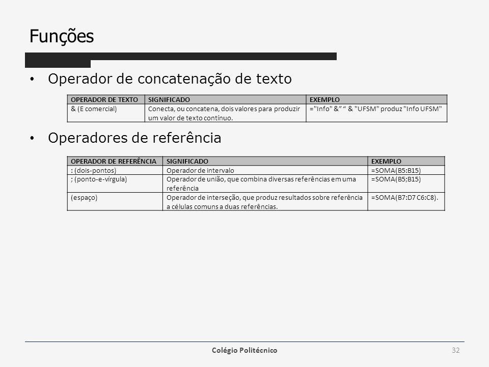 Funções Operador de concatenação de texto Operadores de referência Colégio Politécnico32 OPERADOR DE TEXTOSIGNIFICADOEXEMPLO & (E comercial)Conecta, o