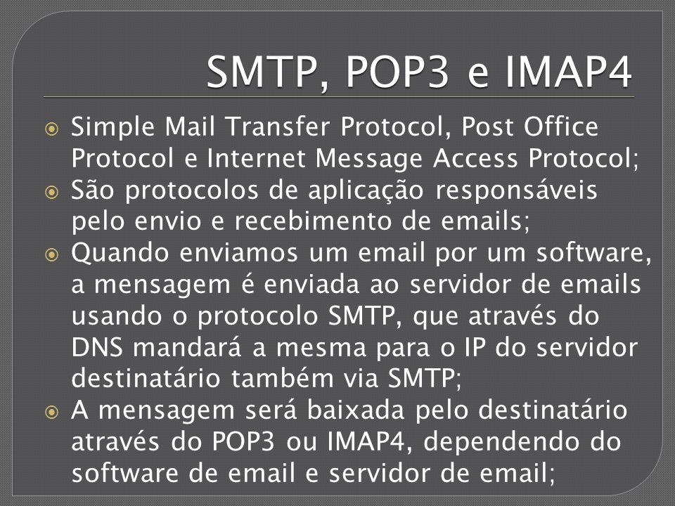 SMTP, POP3 e IMAP4 Simple Mail Transfer Protocol, Post Office Protocol e Internet Message Access Protocol; São protocolos de aplicação responsáveis pe