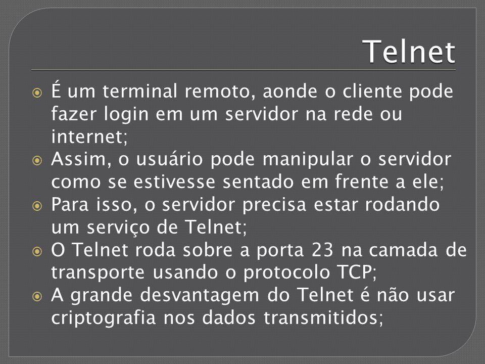 Telnet É um terminal remoto, aonde o cliente pode fazer login em um servidor na rede ou internet; Assim, o usuário pode manipular o servidor como se e