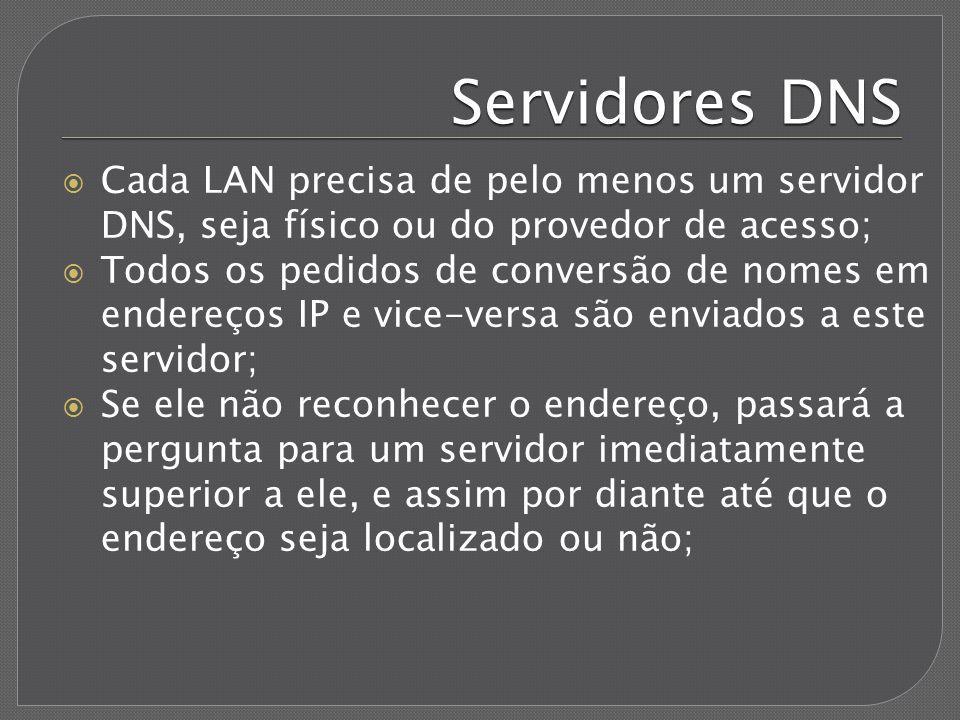 Servidores DNS Cada LAN precisa de pelo menos um servidor DNS, seja físico ou do provedor de acesso; Todos os pedidos de conversão de nomes em endereç