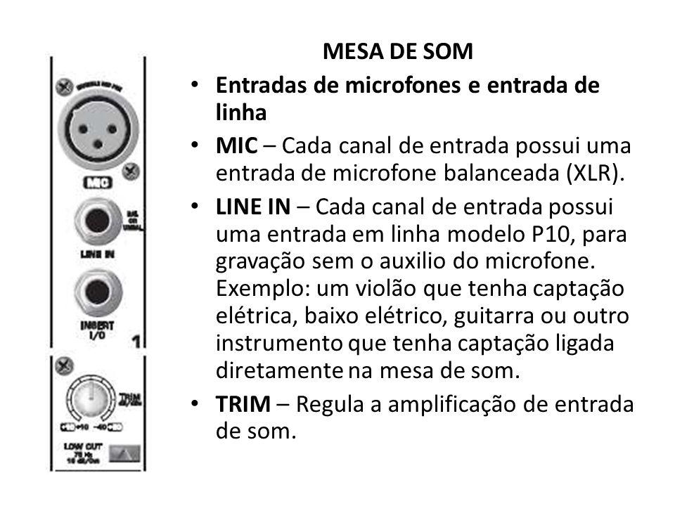 MESA DE SOM Entradas de microfones e entrada de linha MIC – Cada canal de entrada possui uma entrada de microfone balanceada (XLR). LINE IN – Cada can