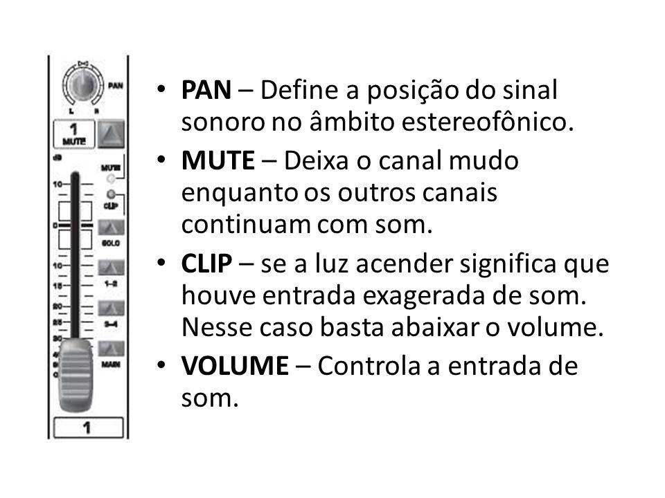 PAN – Define a posição do sinal sonoro no âmbito estereofônico. MUTE – Deixa o canal mudo enquanto os outros canais continuam com som. CLIP – se a luz
