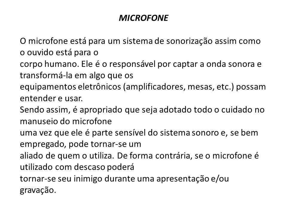 MICROFONE O microfone está para um sistema de sonorização assim como o ouvido está para o corpo humano. Ele é o responsável por captar a onda sonora e