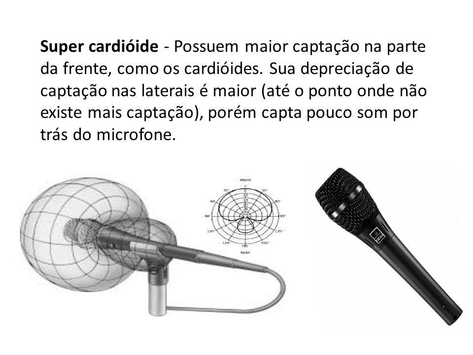 Super cardióide - Possuem maior captação na parte da frente, como os cardióides. Sua depreciação de captação nas laterais é maior (até o ponto onde nã