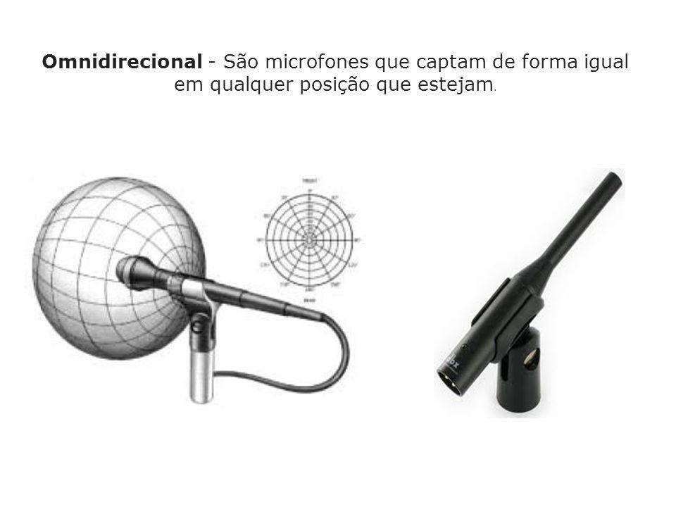 Omnidirecional - São microfones que captam de forma igual em qualquer posição que estejam.