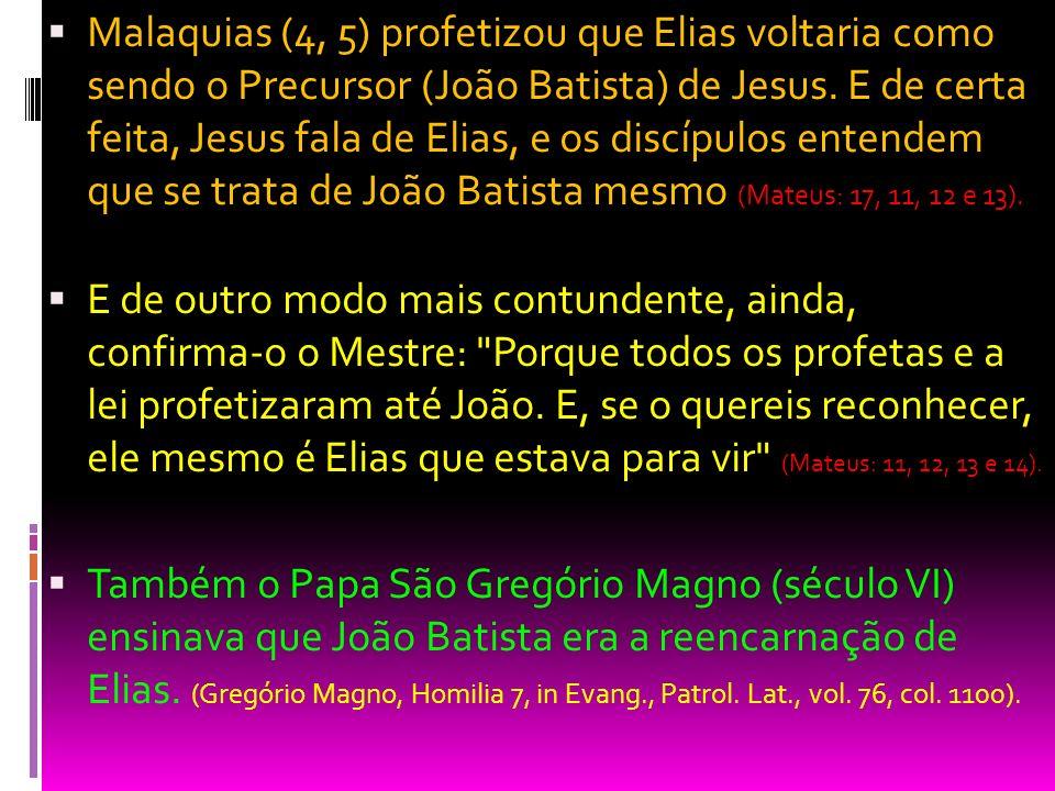 Malaquias (4, 5) profetizou que Elias voltaria como sendo o Precursor (João Batista) de Jesus. E de certa feita, Jesus fala de Elias, e os discípulos