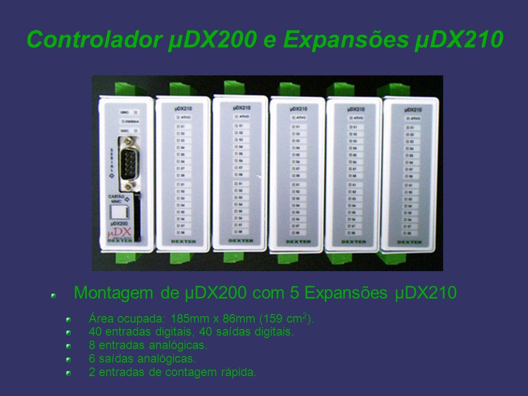 Controlador µDX200 e Expansões µDX210 Montagem de µDX200 com 5 Expansões µDX210 Área ocupada: 185mm x 86mm (159 cm 2 ). 40 entradas digitais, 40 saída
