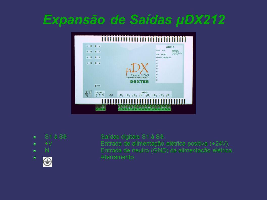 Expansão de Saídas µDX212 S1 à S8Saídas digitais S1 à S8. +VEntrada de alimentação elétrica positiva (+24V). NEntrada de neutro (GND) da alimentação e