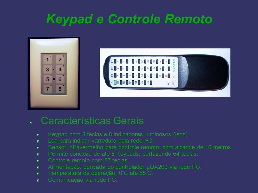 Keypad e Controle Remoto Características Gerais Keypad com 8 teclas e 8 indicadores luminosos (leds). Led para indicar varredura pela rede I 2 C. Sens