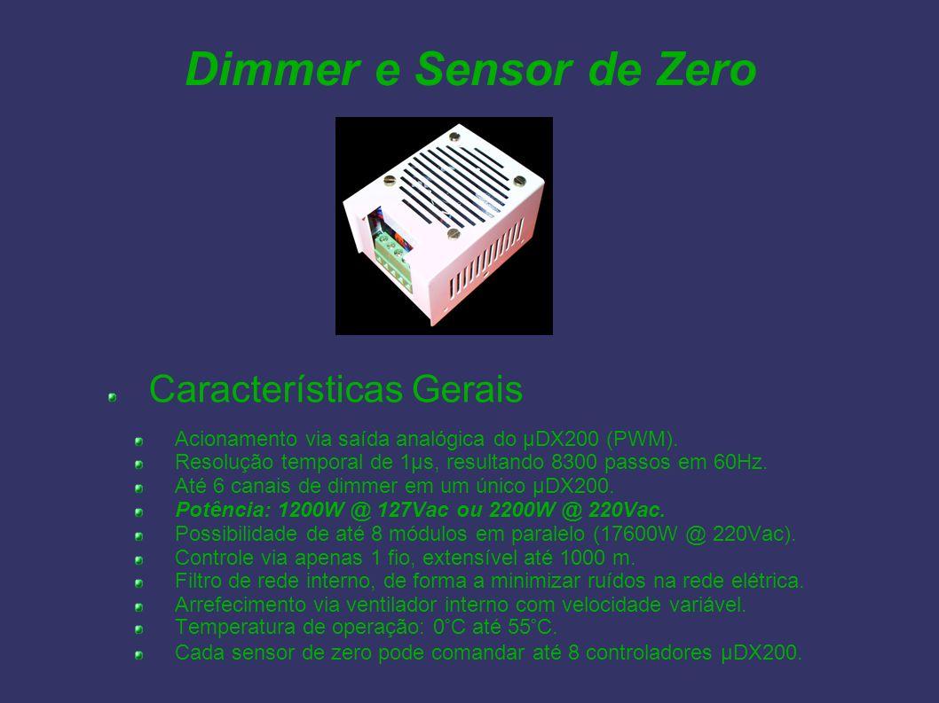 Dimmer e Sensor de Zero Características Gerais Acionamento via saída analógica do µDX200 (PWM). Resolução temporal de 1µs, resultando 8300 passos em 6