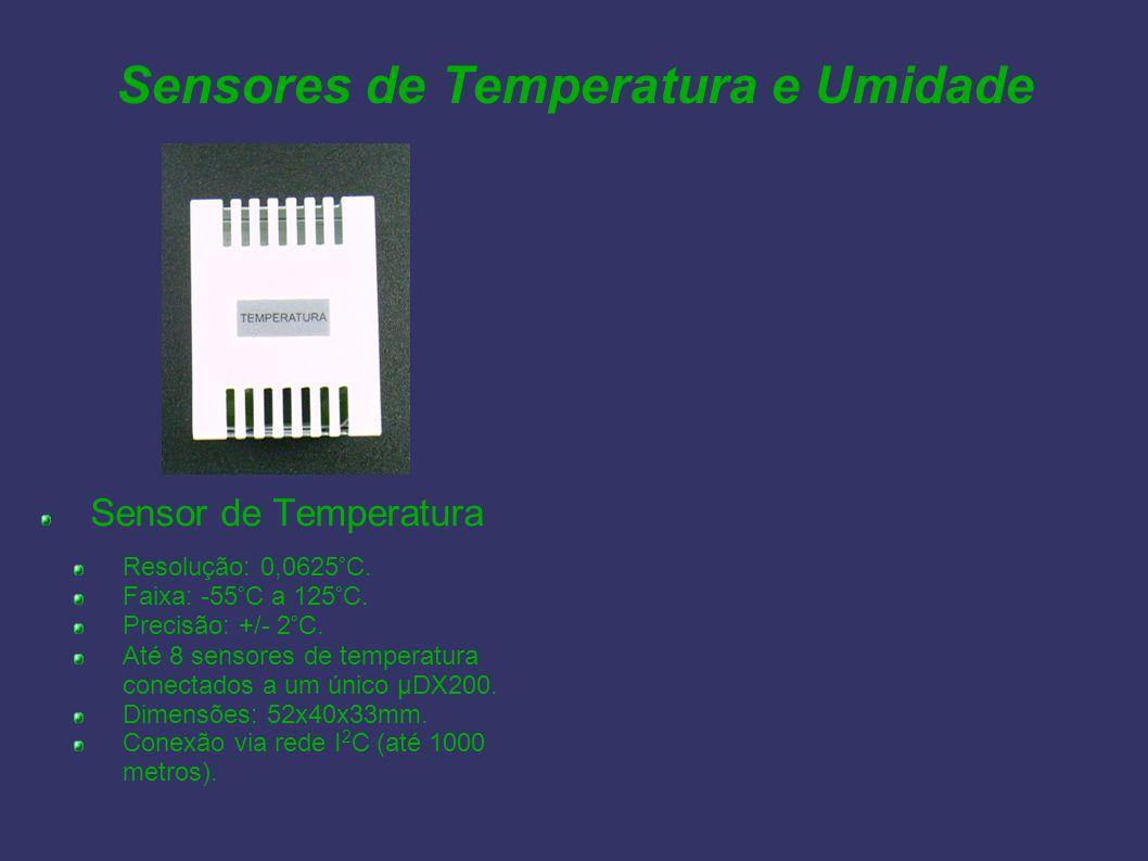 Sensores de Temperatura e Umidade Sensor de Temperatura Resolução: 0,0625°C. Faixa: -55°C a 125°C. Precisão: +/- 2°C. Até 8 sensores de temperatura co