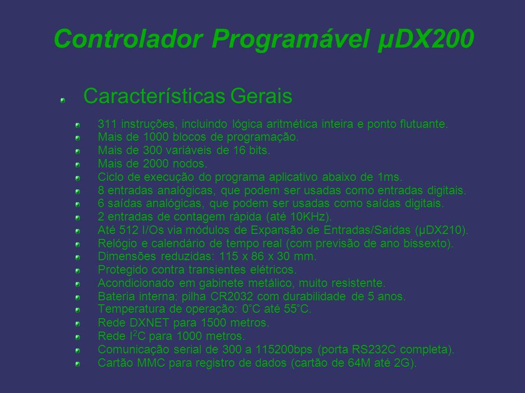 Características Gerais 311 instruções, incluindo lógica aritmética inteira e ponto flutuante. Mais de 1000 blocos de programação. Mais de 300 variávei