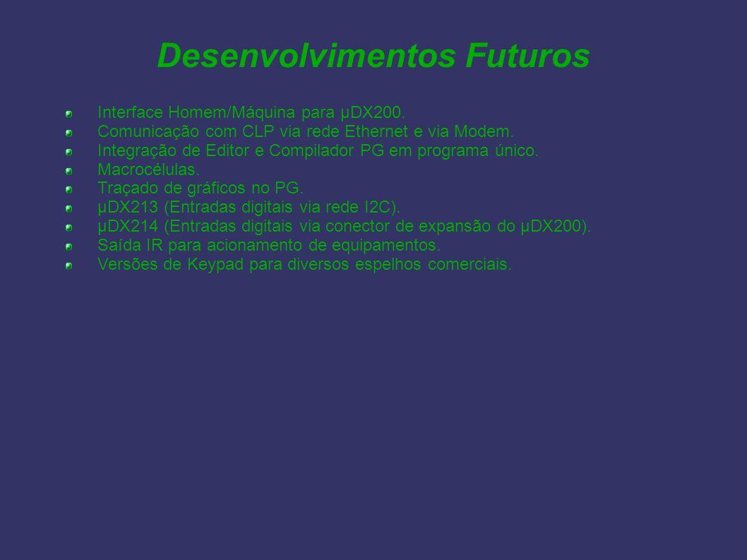 Desenvolvimentos Futuros Interface Homem/Máquina para µDX200. Comunicação com CLP via rede Ethernet e via Modem. Integração de Editor e Compilador PG