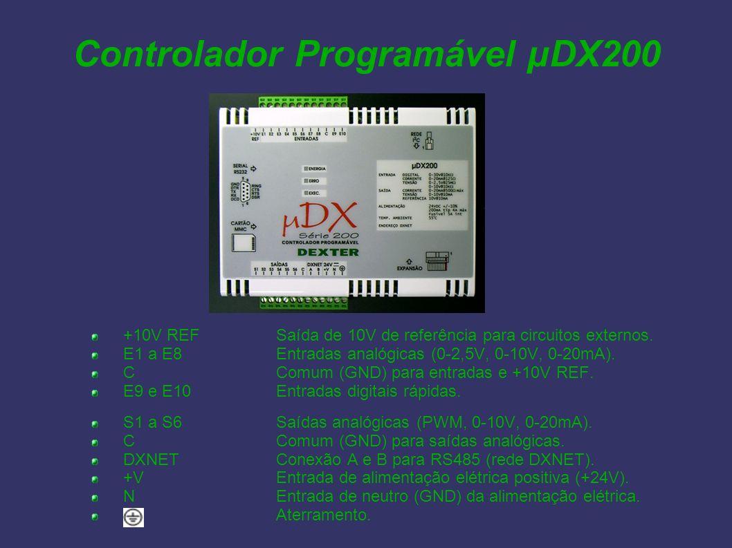 Controlador Programável µDX200 +10V REFSaída de 10V de referência para circuitos externos. E1 a E8Entradas analógicas (0-2,5V, 0-10V, 0-20mA). CComum