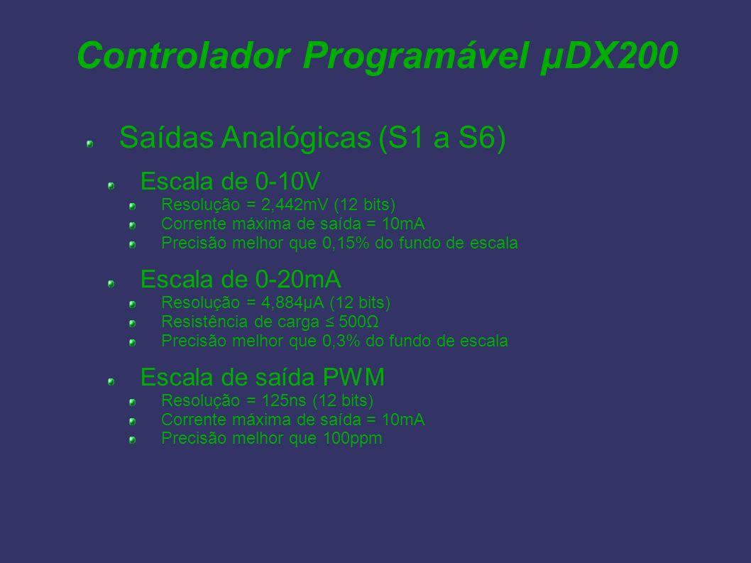 Controlador Programável µDX200 Saídas Analógicas (S1 a S6) Escala de 0-10V Resolução = 2,442mV (12 bits) Corrente máxima de saída = 10mA Precisão melh
