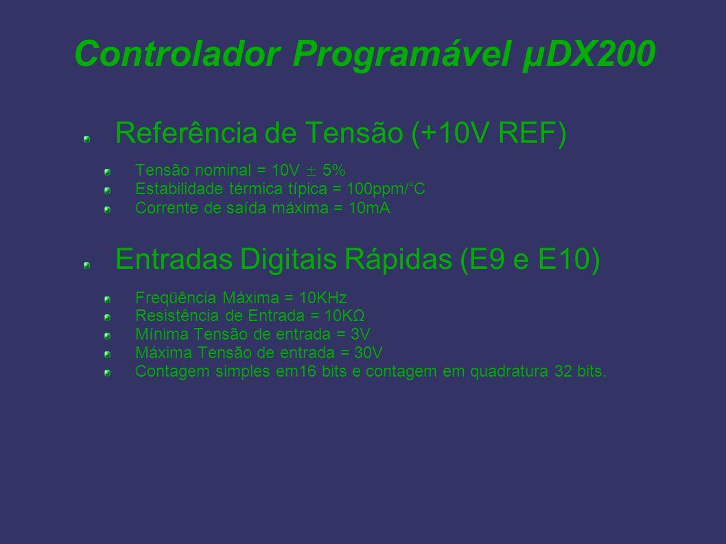 Controlador Programável µDX200 Referência de Tensão (+10V REF) Tensão nominal = 10V ± 5% Estabilidade térmica típica = 100ppm/°C Corrente de saída máx
