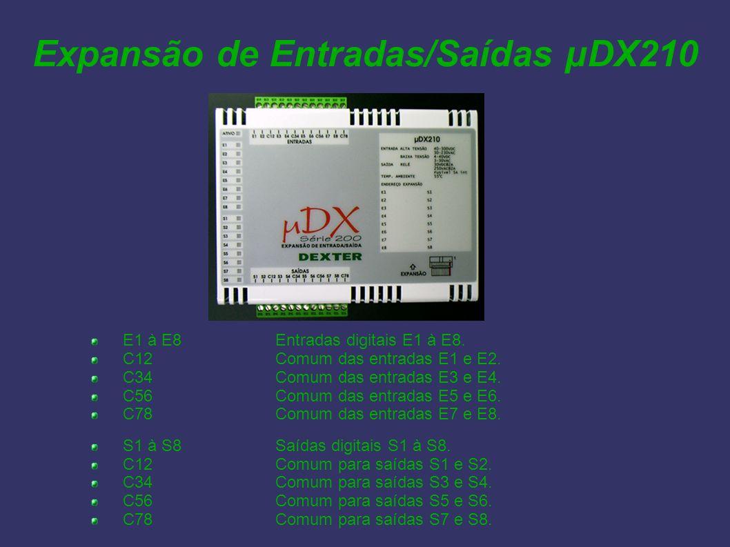 Expansão de Entradas/Saídas µDX210 E1 à E8Entradas digitais E1 à E8. C12Comum das entradas E1 e E2. C34Comum das entradas E3 e E4. C56Comum das entrad