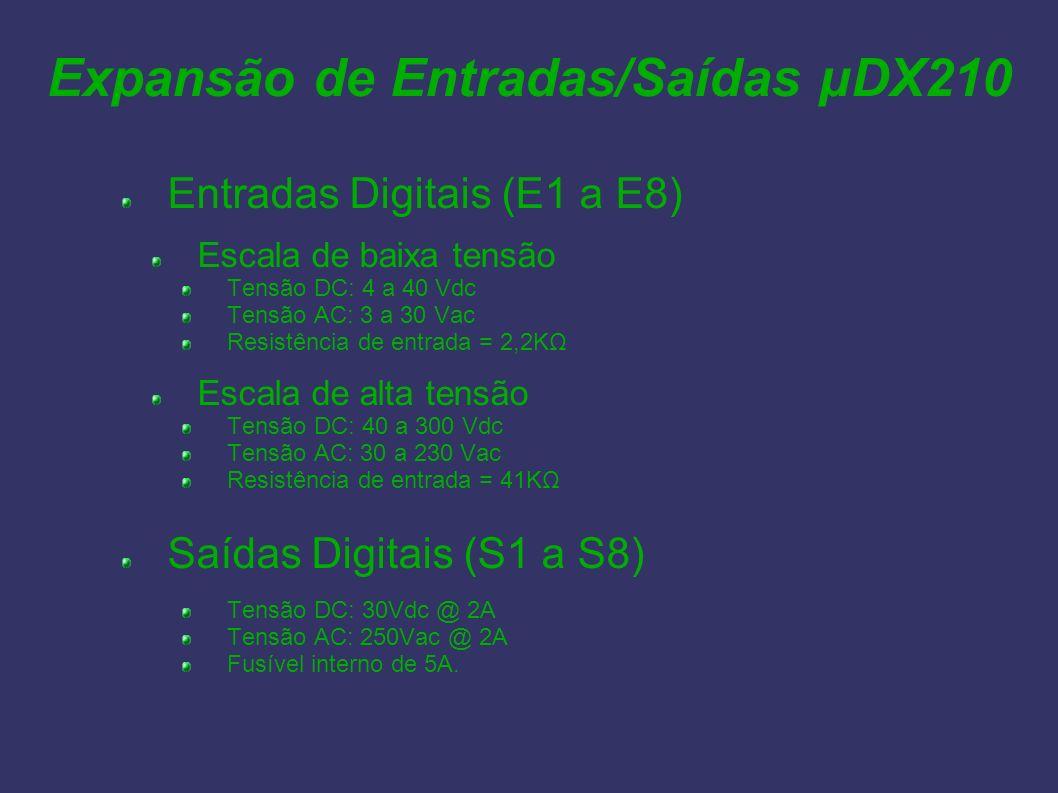 Expansão de Entradas/Saídas µDX210 Entradas Digitais (E1 a E8) Escala de baixa tensão Tensão DC: 4 a 40 Vdc Tensão AC: 3 a 30 Vac Resistência de entra
