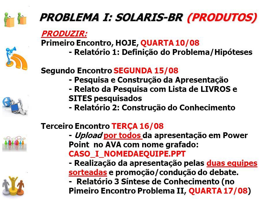 PROBLEMA I: SOLARIS-BR (PRODUTOS) PRODUZIR: Primeiro Encontro, HOJE, QUARTA 10/08 - Relatório 1: Definição do Problema/Hipóteses Segundo Encontro SEGU