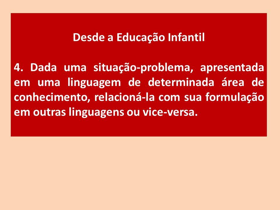 Desde a Educação Infantil 4. Dada uma situação-problema, apresentada em uma linguagem de determinada área de conhecimento, relacioná-la com sua formul